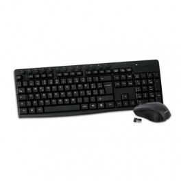 Kit Tastiera Multimediale e Mouse Nero Wireless 1200DPI 2 4G