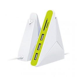 Hub USB 3 Porte Card Reader microSDHC SDHC Bianco